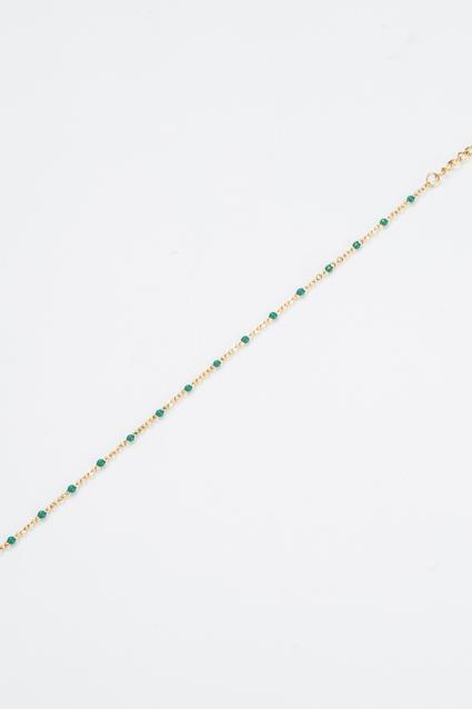 Bracelet fin perle verte et dorée