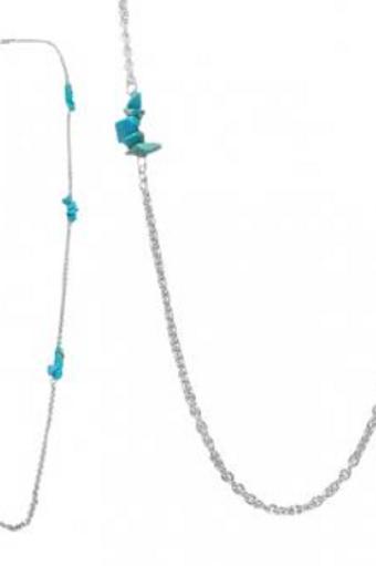 Sautoir chaîne argent et turquoise
