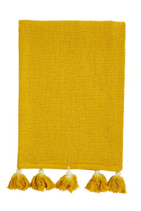 Serviette pompons jaune