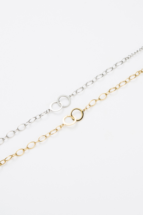 Bracelet anneaux chaîne dorée