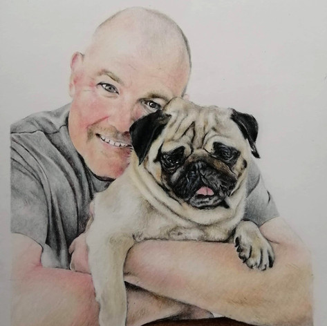 Porridge and owner - Coloured Pencil