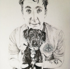 Sam and Paddy - Black & white pencil