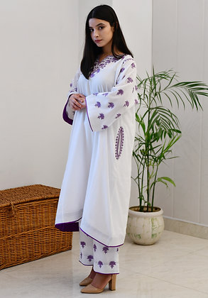 White Purple Mulmul Phiran Set