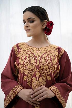 Red Fine Wool Tilla Phiran set