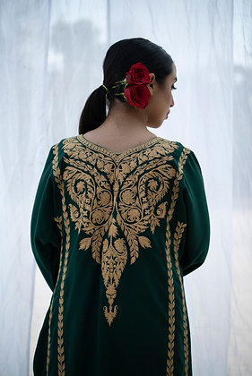 Emerald Green Fine Wool Tilla Phiran set