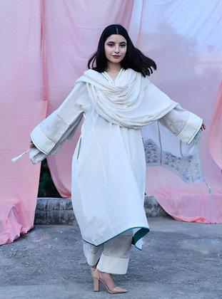 Off White Kora Mughal Tilla Phiran Suit