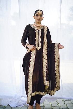 Brown Velvet Tilla Suit