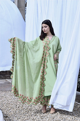 Green Phiran Suit with Scalloping Details