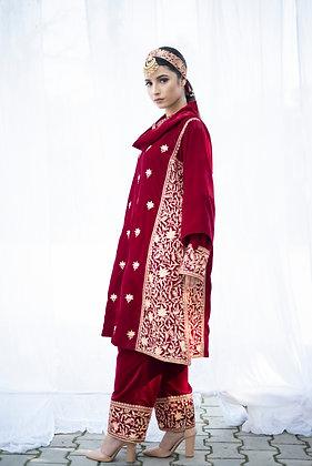 Red Velvet Kali Tilla Phiran set