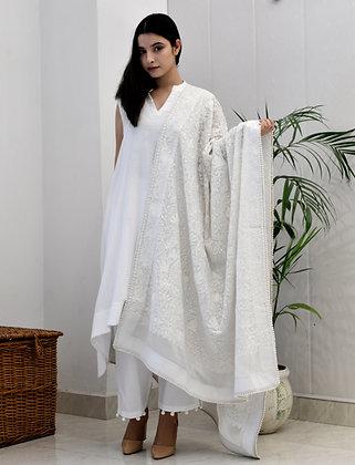 White on White Aari Suit