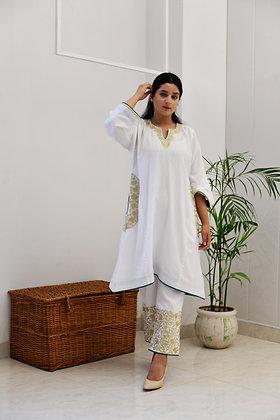 White Tilla Mulmul Phiran Set