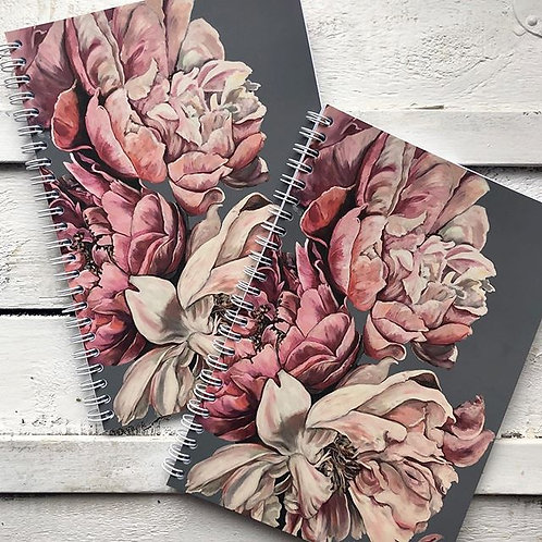 Pink and Grey Peony Lined Notebook