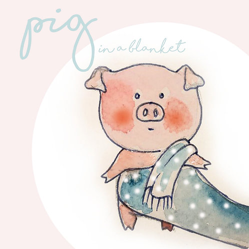 Christmas Card Pig in a Blanket