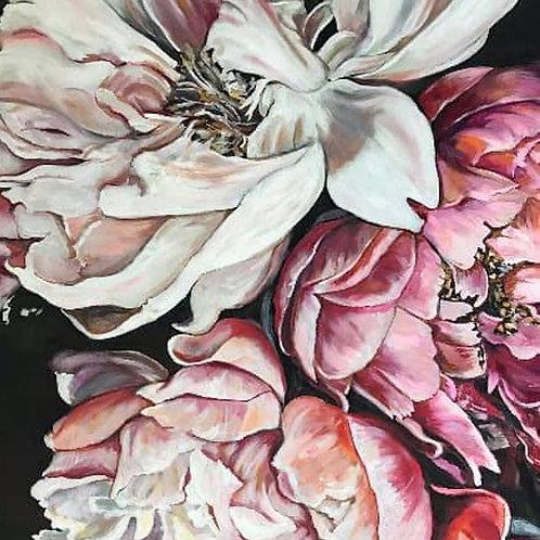 Deep Pink Peonies High Quality A3 Print
