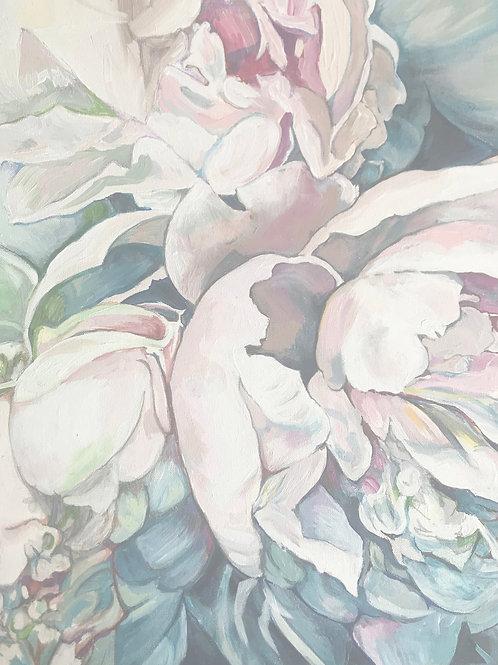 White Peonies A3 Quality Print