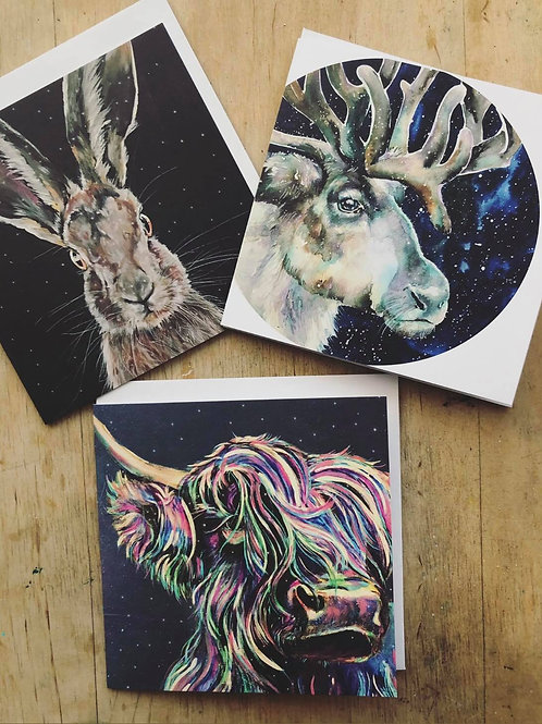 Christmas Animal Card Pack of 3