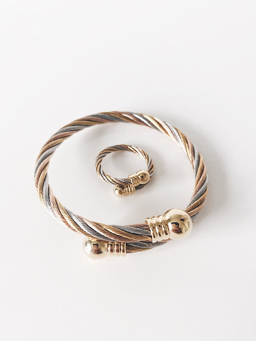 Triple Gold Bracelet-Ring Set (Free size)