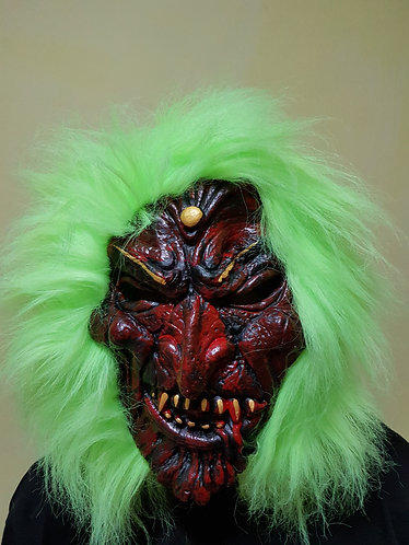 Forest Vampire Mask with neon green hair