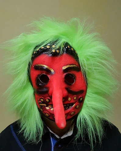 Evil Pinocchio Mask with neon green hair