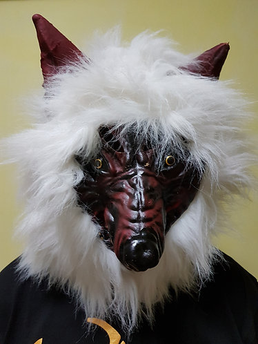 Jungle Wolf Mask with white hair