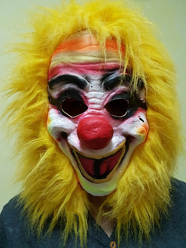 Scary Clown Mask with yellow hair