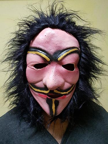V Mask with black hair