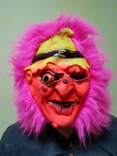 Red Witch Mask with pink hair