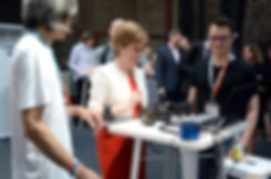 Nicola Sturgeon and Atau Tanaka at FutureFest 2018 Bio-Body-Tech room by body>data>space