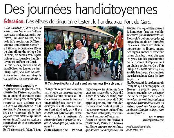 Artcicle MidiLibre Différent Comme Tout Le Monde Pont du Gard ed6