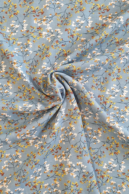 Blue Ditsy Floral Linen Viscose