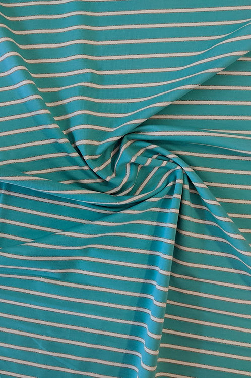 Glitter Aqua Stripe Loop Back Jersey