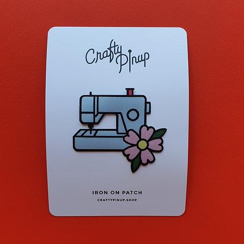 Iron On Patch Crafty Pin Up Sewing Machine