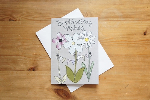 Birthday Flowers Printed Card Large