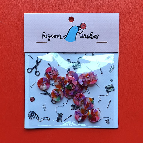 Pigeon Wishes Shirt Buttons Bloom 15mm