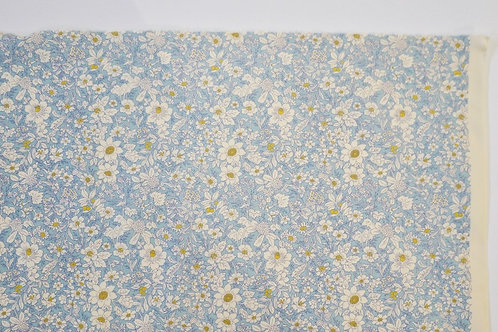 Cotton Poplin Sky Blue Floral