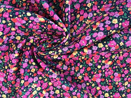 Navy/Pink Ditsy Cotton Poplin
