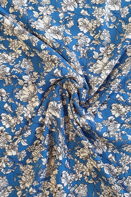 Viscose Floral Print Blue