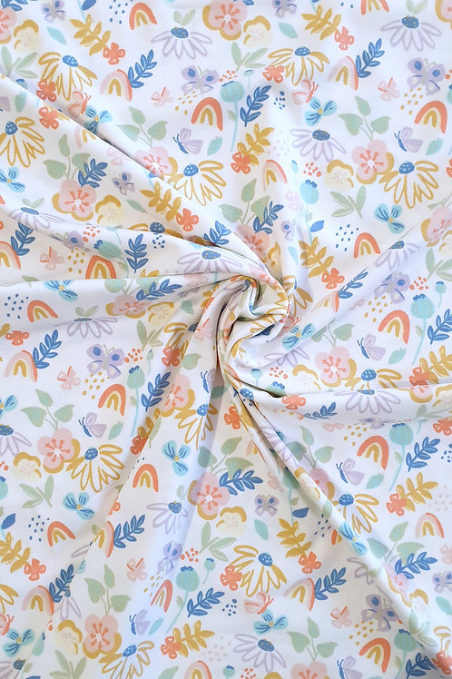 White Floral Spring Print Jersey