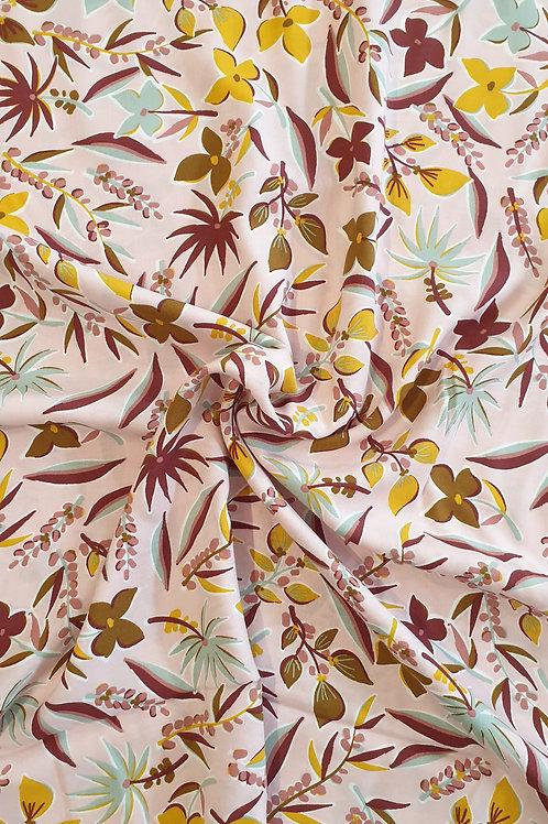 Viscose Pink Colour Leaf Print