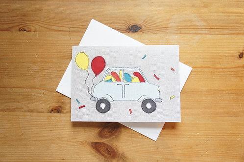 Balloon Car Printed Card Large