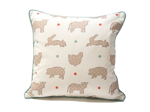 Piped Cushion On the Farm© Print