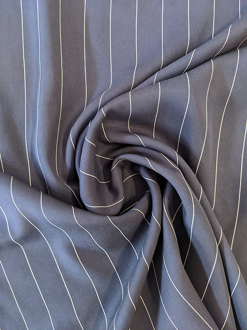 Navy Stripe Tencel Twill
