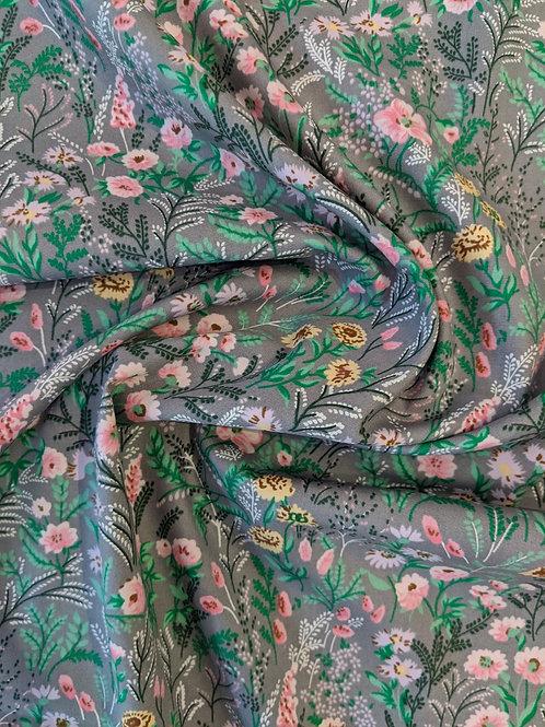 Cotton Poplin Grey Fresh Floral