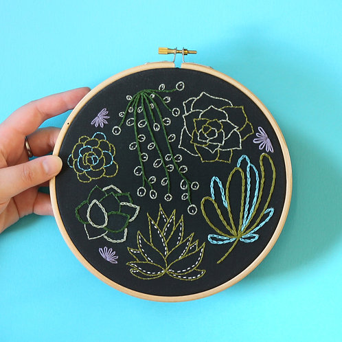 Black Botanical Embroidery Kits