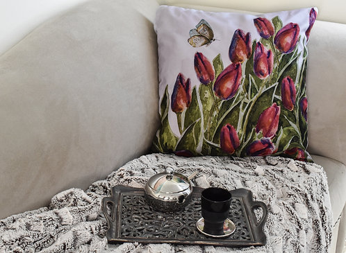"Funda cojín decorativo ""Tulipanes"""