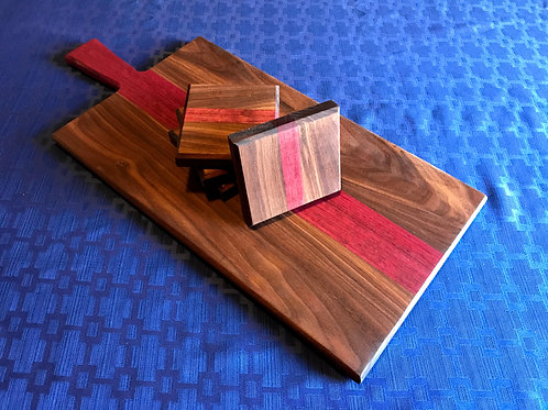 Charcuterie Board with 4 Matching  Coasters