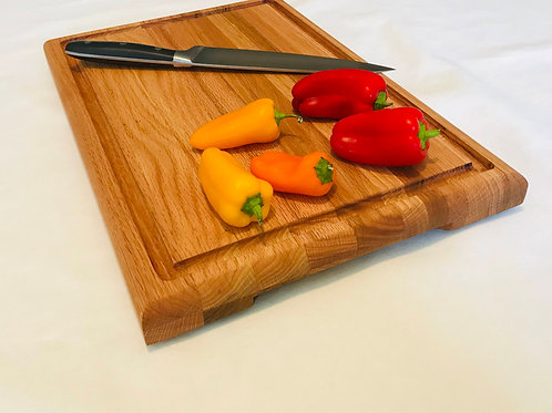 Oak Cutting Board with Feet, Lift Handles and Juice Groove