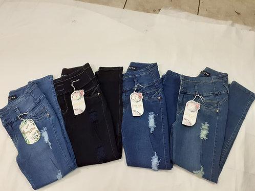 Pantalon jeans stresh Modelador de 3 botones cintura alta
