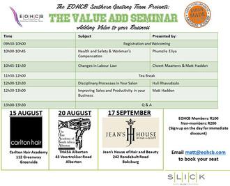 EOHCB Value Add Seminar: Greenside, Jhb, 15 August & Alberton, 20 August