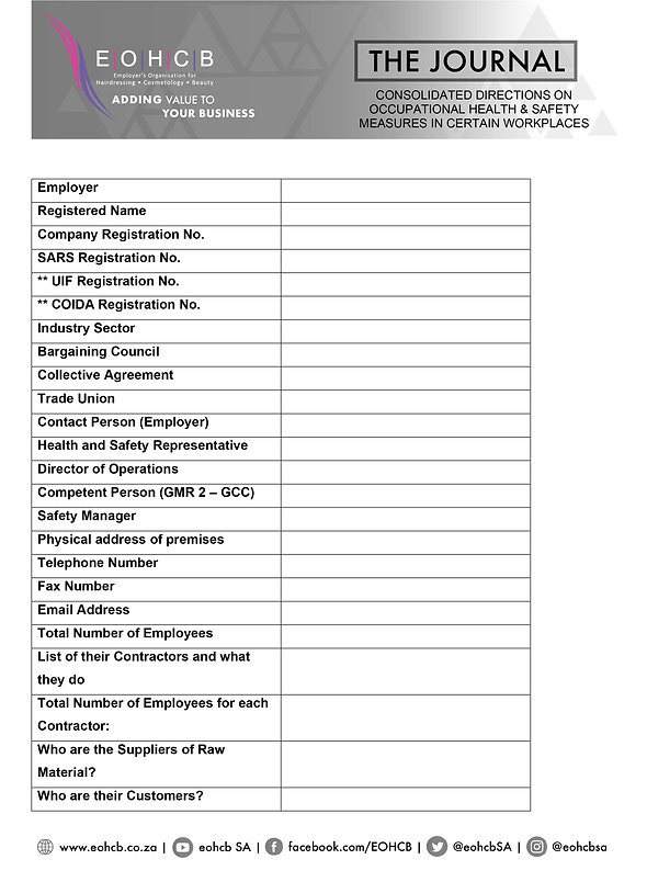 Consolidated Directions on Occupational